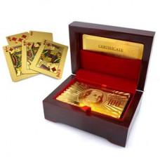 Τράπουλα 52 Card Poker Set 24K Gold Leaf 99,9% Καθαρό Χρυσό με Ξύλινο Κουτί Mahogany.