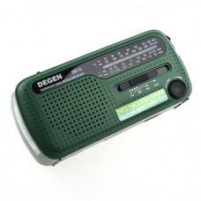 Ραδιόφωνο ηλιακής ενέργειας FM AM SW με φορτιστή δυναμό και φακό DEGEN DE13